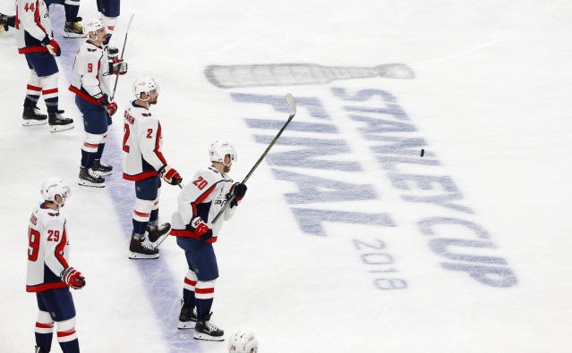 Members of the Washington Capitals warm up prior to Game 2 of the NHL hockey Stanley Cup Finals against the Vegas Golden Knights on Wednesday, May 30, 2018, in Las Vegas. (AP Photo/Ross D. Franklin)