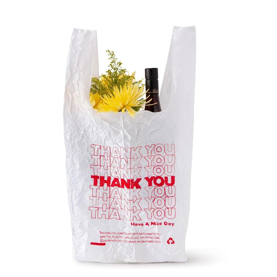 <p>This cute <span>Embroidered Thank You Tote</span> ($38) looks just like a plastic bag but is so much better.</p>