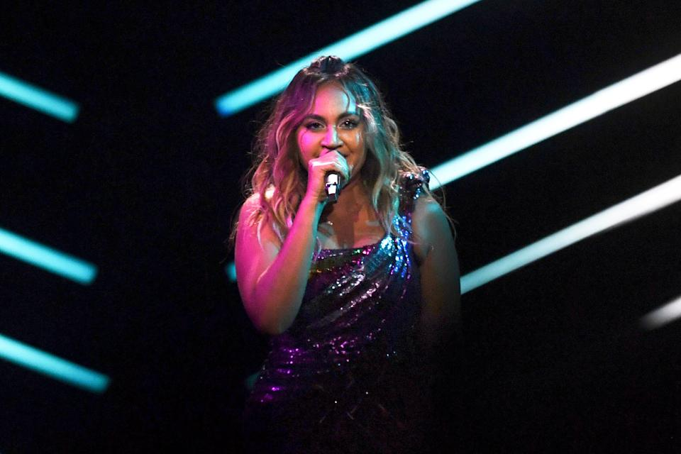 Jessica Mauboy performed during the final of the 63rd edition of the Eurovision Song Contest 2018 at the Altice Arena in Lisbon. In 2014 she was invited as a guest on behalf of Australia and performed a song called 'Sea of Flags', which while not in traditional language, reflected her Indigenous Australian culture. (Photo: FRANCISCO LEONG via Getty Images)
