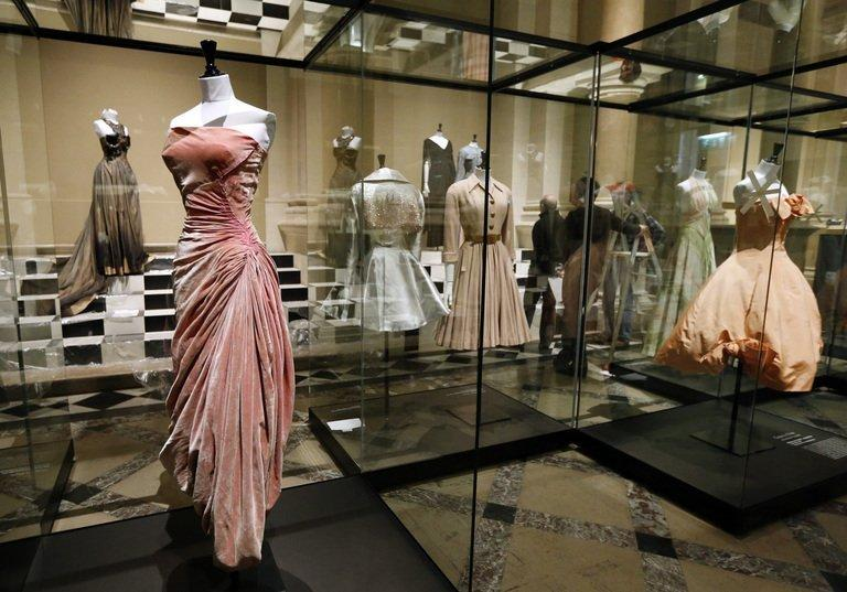 A dress by French designer Madame Gres (L) is seen at the Galliera fashion museum in Paris, on February 25, 2013