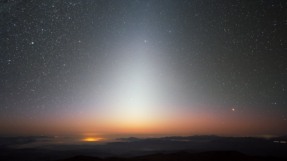 An image of the night sky phenomenon Zodiacal Light.