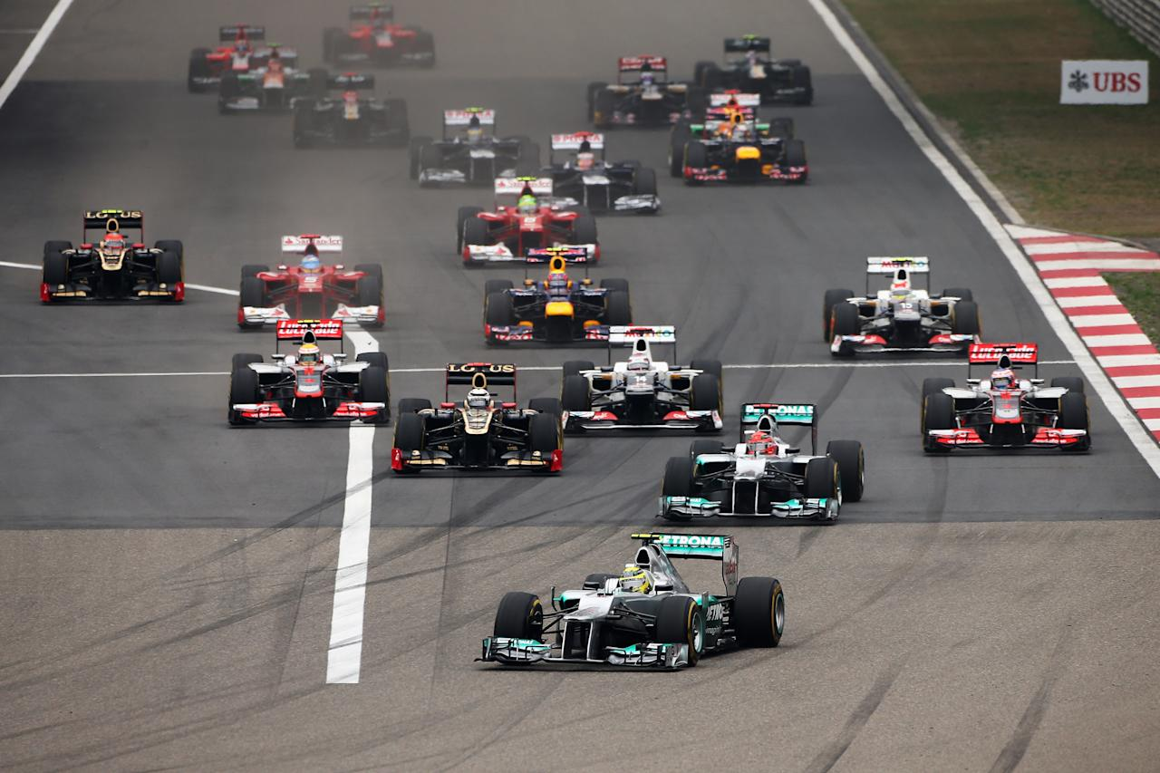 SHANGHAI, CHINA - APRIL 15:  Nico Rosberg of Germany and Mercedes GP leads the field at the start of the Chinese Formula One Grand Prix at the Shanghai International Circuit on April 15, 2012 in Shanghai, China.  (Photo by Clive Mason/Getty Images)