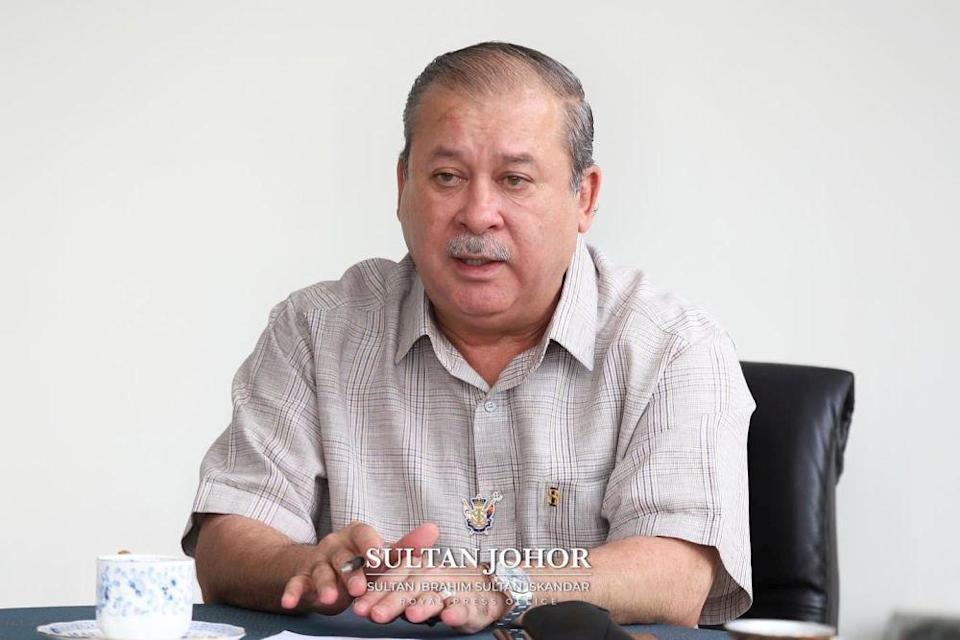 Johor's Sultan Ibrahim Sultan Iskandar has consented to the state legislative assembly meeting on August 12. — Picture courtesy of Johor Royal Press Office