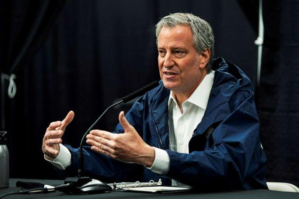 PHOTO: New York City Mayor Bill De Blasio speaks to the media during a press conference in Queens, New York, April 10, 2020. (Eduardo Munoz/Reuters, FILE)