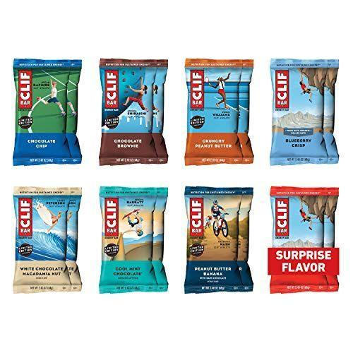 "<p><strong>Clif Bar</strong></p><p>amazon.com</p><p><strong>$19.99</strong></p><p><a href=""https://www.amazon.com/dp/B07D83162X?tag=syn-yahoo-20&ascsubtag=%5Bartid%7C2089.g.35651204%5Bsrc%7Cyahoo-us"" rel=""nofollow noopener"" target=""_blank"" data-ylk=""slk:Shop Now"" class=""link rapid-noclick-resp"">Shop Now</a></p><p>Aside from the peanut butter and honey with sea salt flavor, every Clif bar is totally vegan, made with a combination of whole grains, sugar, and vegan protein sources.</p><p><em>Per 1 bar: 250 cals, 5 g fat (1.5 g sat), 45 g carbs, 21 g sugar, 140 mg sodium, 4 g fiber, 9 g protein. </em></p>"