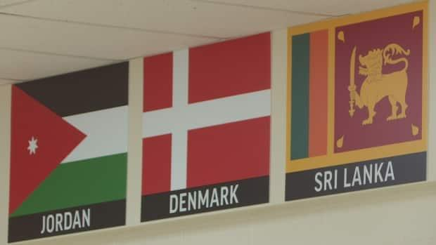 The posters represent the countries  where students have immigrated to P.E.I. from. The school expects to regularly add more, as students arrive from around the world in increasing numbers.