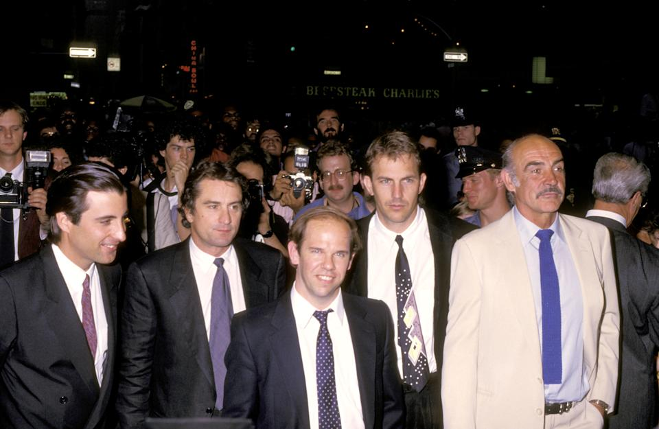 "Andy Garcia, Robert De Niro, Charles Martin Smith, Kevin Costner and Sean Connery at the premiere of ""The Untouchables"" - June 1987 (Photo by Ron Galella/Ron Galella Collection via Getty Images)"