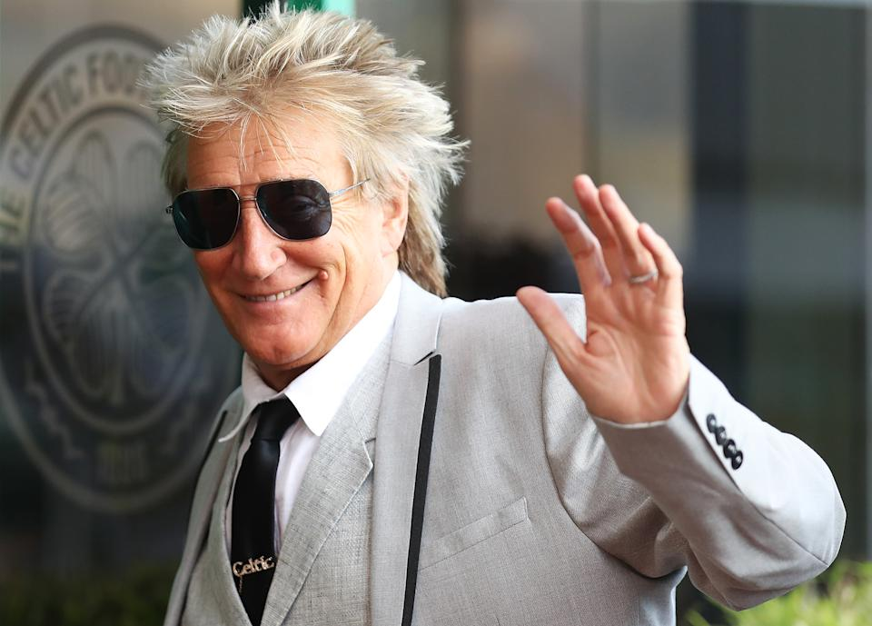 Rod Stewart arrives at Celtic Park for a UEFA Champions League qualifying round in Glasgow, Scotland. (Ian MacNicol/Getty Images)