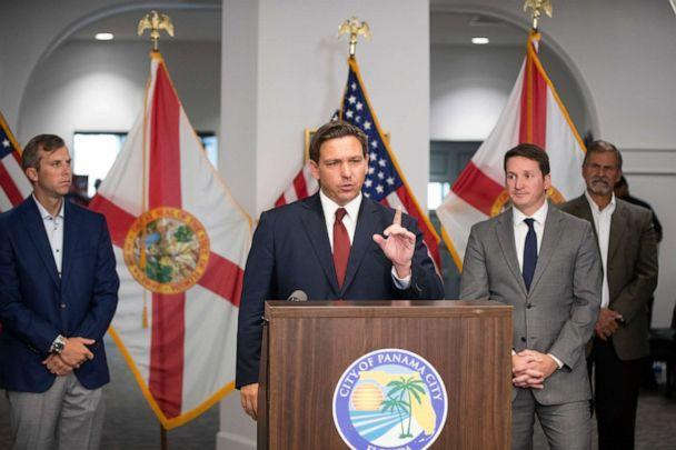 PHOTO: Florida Governor Ron DeSantis speaks at a press conference in Panama City, Fla., on Aug. 4, 2021. (Mike Fender/News Herald via USA Today Network)