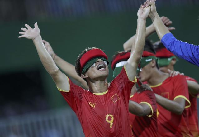 2016 Rio Paralympics - Football Soccer - Men's 5-a-side Preliminaries Pool B - China v Mexico - Olympic Tennis Centre - Rio de Janeiro, Brazil - 11/09/2016. Wang Zhoubin (CHN) of China and team mates celebrate. REUTERS/Ueslei Marcelino FOR EDITORIAL USE ONLY, NOT FOR SALE FOR MARKETING OR ADVERTISING CAMPAIGNS.