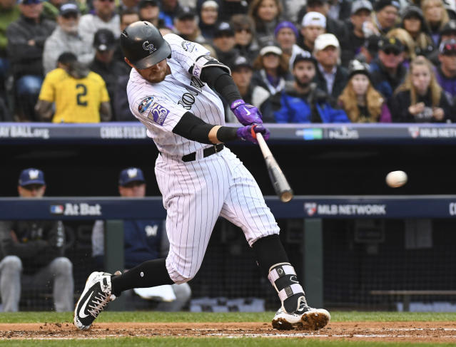 "<a class=""link rapid-noclick-resp"" href=""/mlb/teams/colorado/"" data-ylk=""slk:Colorado Rockies"">Colorado Rockies</a> shortstop <a class=""link rapid-noclick-resp"" href=""/mlb/players/9571/"" data-ylk=""slk:Trevor Story"">Trevor Story</a> was a five-category stud in 2018. (AP Photo/John Leyba)"