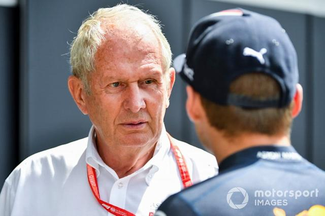 "Helmut Marko, Consultant, Red Bull Racing, andMax Verstappen, Red Bull Racing <span class=""copyright"">Mark Sutton / Sutton Images</span>"