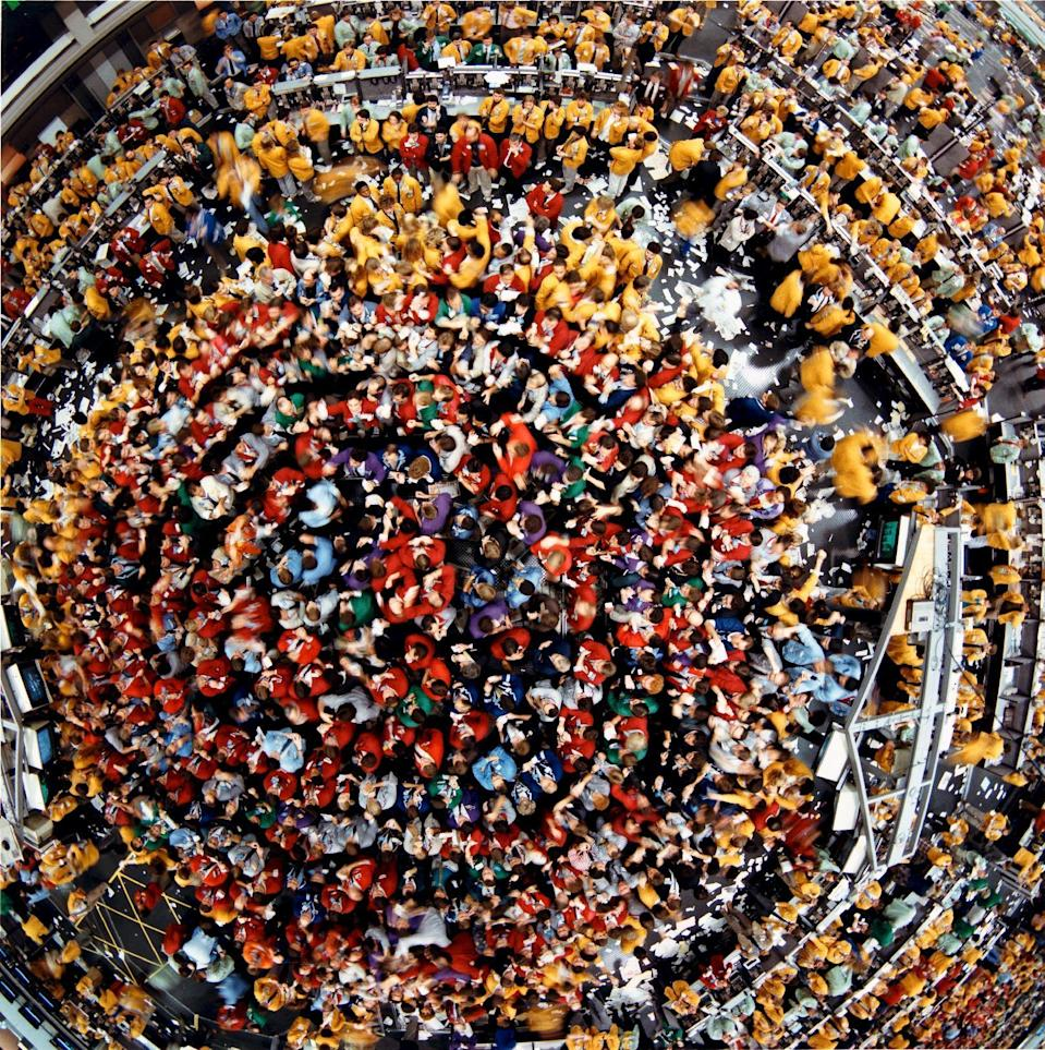 The S&P 500 trading pit is pictured from overhead at the Chicago Mercantile Exchange in Chicago, Illinois in this late 1980s handout photo. REUTERS/CME Group