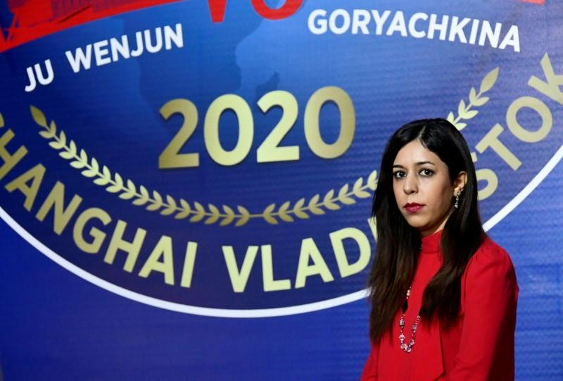 Iranian chess referee Shohreh Bayat looks on during the Women's World Chess Championship in Vladivostok