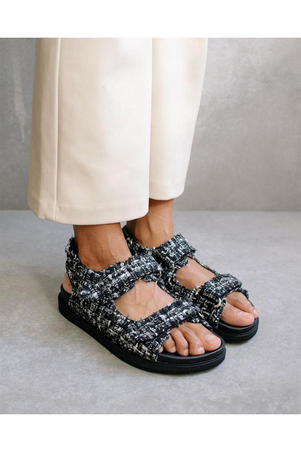 """<p><strong>Alohas</strong></p><p>alohas.io</p><p><strong>$183.00</strong></p><p><a href=""""https://www.alohas.io/collections/best-sellers/products/hook-loop-tweed-sandal?variant=37512827404481"""" rel=""""nofollow noopener"""" target=""""_blank"""" data-ylk=""""slk:Shop Now"""" class=""""link rapid-noclick-resp"""">Shop Now</a></p><p>Alohas shoes are always super chic, but when they give back to the planet as well, what's not to love? A preorder system prevents overproduction and the brand's suppliers work with the Leather Working Group, the world's largest leather sustainability program. </p>"""