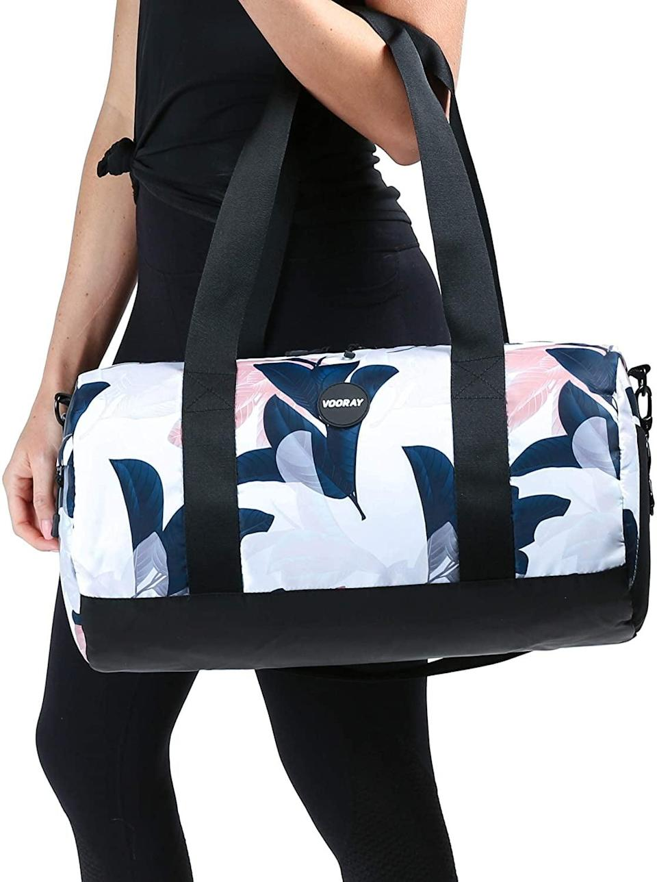 <p>The <span>Vooray Iconic Duffel Bag, Weekender Bag</span> ($30) comes in seven gorgeous colors and patterns that are so chic and stylish. Keep your gym gear organized with this bag.</p>