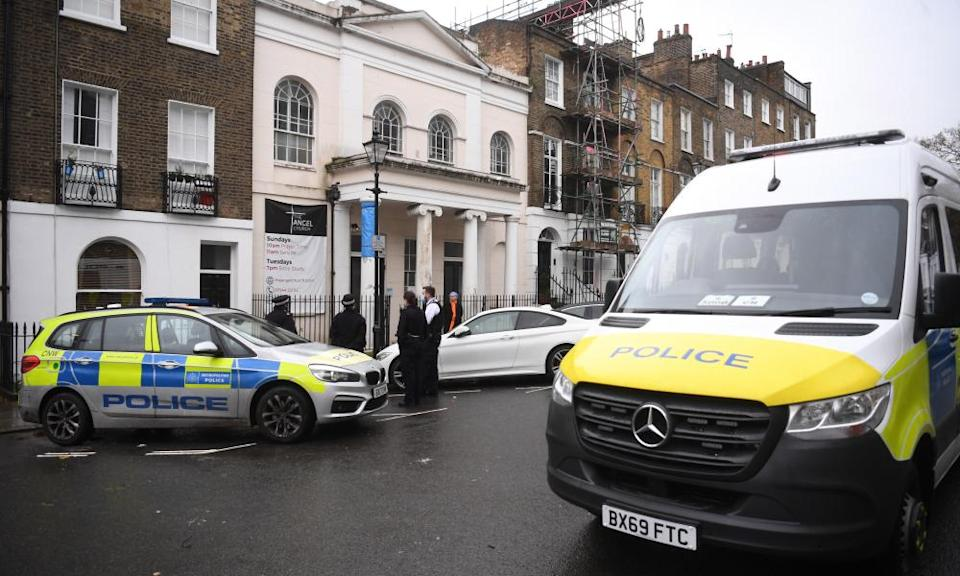 Police outside the Angel Church in north London