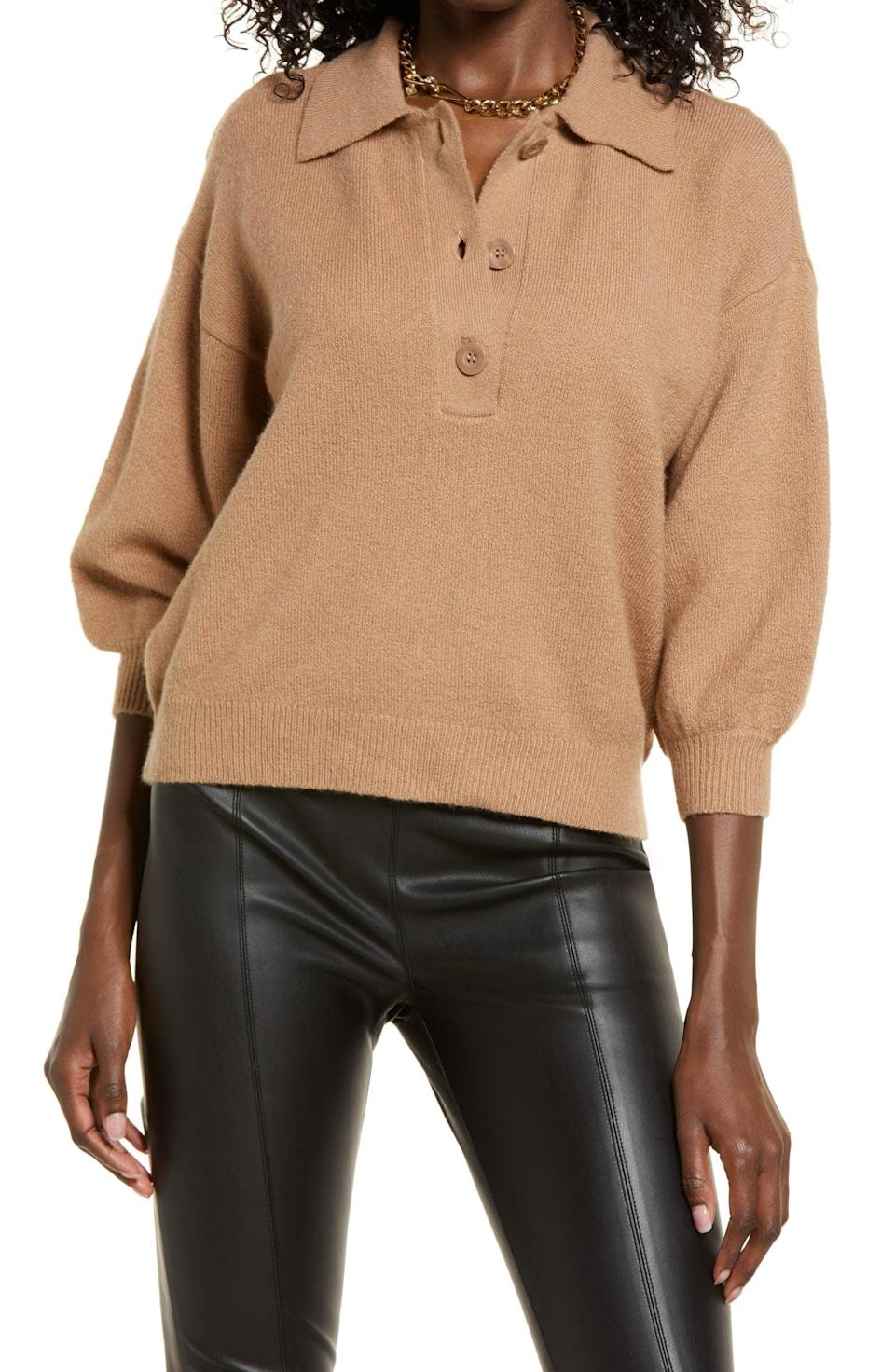 <p>This <span>Open Edit Polo Sweater</span> ($59) has universal appeal, making it a timeless fall staple. Cut from a cotton-blend knit fabric and designed with relaxed shoulders and billowy sleeves, it combines style and comfort effortlessly. </p>