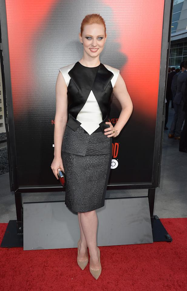 """HOLLYWOOD, CA - JUNE 11: Actress Deborah Ann Woll attends the premiere of HBO's """"True Blood"""" Season 6 at ArcLight Cinemas Cinerama Dome on June 11, 2013 in Hollywood, California. (Photo by Frazer Harrison/Getty Images)"""