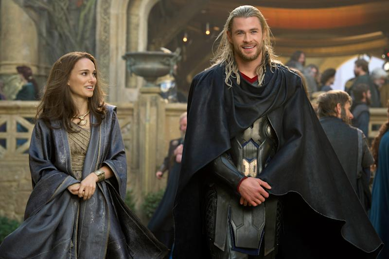 Portman and Hemsworth in Thor: The Dark World (Credit: Marvel)