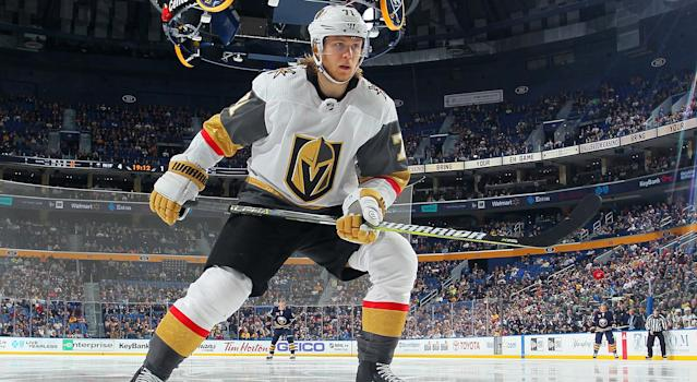 Although he is struggling to score this season, Vegas' William Karlsson isn't too concerned. He has condiments on his side. (Photo by Bill Wippert/NHLI via Getty Images)