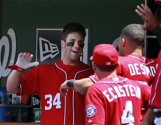 Washington Nationals' Bryce Harper (34) reacts with batting coach Rick Eckstein and Ian Desmond after hitting a solo home run during the first inning of a baseball game with the Atlanta Braves, Sunday, June 3, 2012, in Washington. (AP Photo/Alex Brandon)