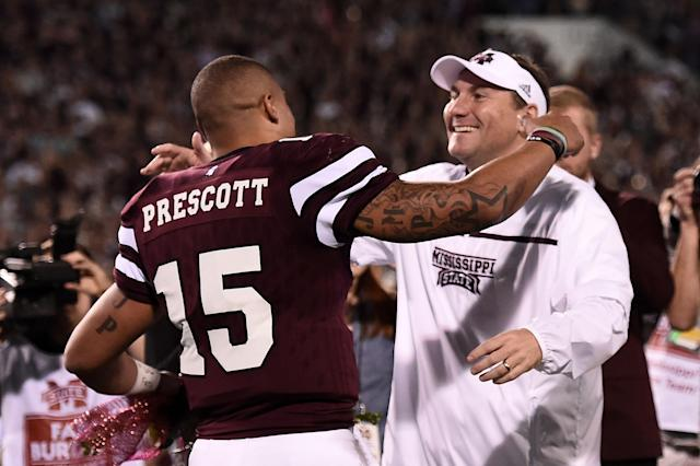 "Mullen had six straight winning seasons at Mississippi State from 2010-2015 and coached future Dallas Cowboys QB <a class=""link rapid-noclick-resp"" href=""/nfl/players/29369/"" data-ylk=""slk:Dak Prescott"">Dak Prescott</a>. (Getty Images)"