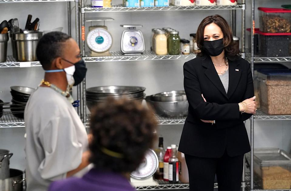 Vice President Kamala Harris visited Red Door Catering in Oakland on Monday.