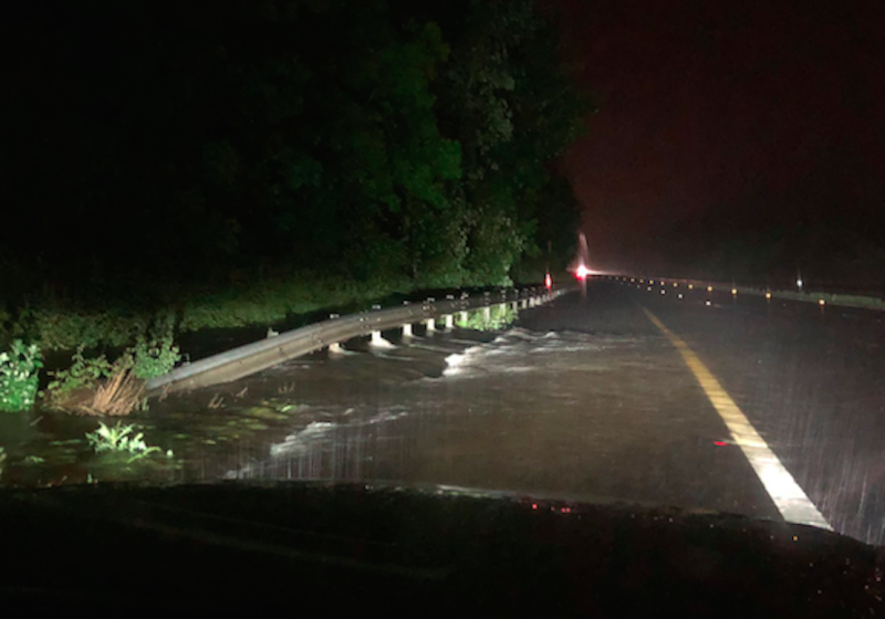 A river burst its banks along the M20 (Picture: Kent Police Roads Policing Unit)