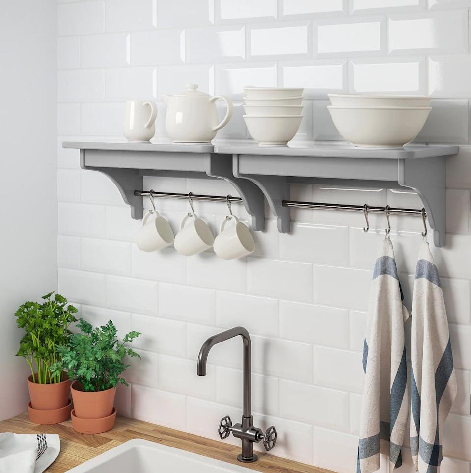"<p>Make room on the counter and in your cupboards with the handy <a href=""https://www.popsugar.com/buy/Tornviken%20Wall%20Shelf-446990?p_name=Tornviken%20Wall%20Shelf&retailer=ikea.com&price=40&evar1=casa%3Aus&evar9=46151613&evar98=https%3A%2F%2Fwww.popsugar.com%2Fhome%2Fphoto-gallery%2F46151613%2Fimage%2F46152179%2FTornviken-Wall-Shelf&list1=shopping%2Cikea%2Corganization%2Ckitchens%2Chome%20shopping&prop13=api&pdata=1"" rel=""nofollow noopener"" target=""_blank"" data-ylk=""slk:Tornviken Wall Shelf"" class=""link rapid-noclick-resp"">Tornviken Wall Shelf</a> ($40). The strong shelves can hold large dishes, and the hangers can hold everything from mugs to hand towels and more.</p>"
