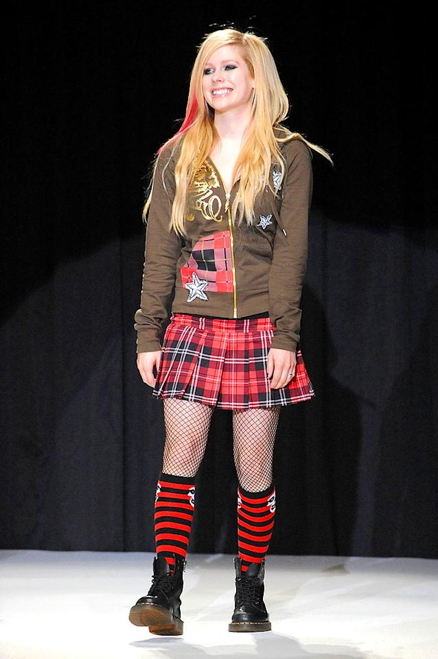 "Looks like Avril Lavigne hit up the sale bin at Hot Topic. Jun Sato/<a href=""http://www.wireimage.com"" target=""new"">WireImage.com</a> - September 14, 2008"