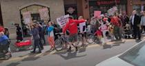 Protesters against public health restrictions gathered at several locations around Calgary over the weekend, including briefly disrupting traffic on 17th Avenue S.W. on Saturday.