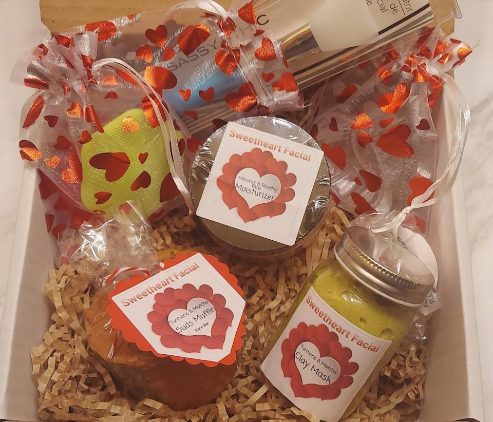 "<h2>Sweetheart Facial Valentine's Day Basket</h2><br>Filled to the brim with nourishing products like clay soap, face masks, and exfoliating face pads, this gift basket makes the ideal V-Day gift for your favorite skincare obsessed gal. <br><br><em>Shop <strong><a href=""https://www.etsy.com/shop/UninhibitedQueen"" rel=""nofollow noopener"" target=""_blank"" data-ylk=""slk:UninhibitedQueen"" class=""link rapid-noclick-resp"">UninhibitedQueen</a></strong></em><br><br><strong>UninhibitedQueen</strong> Sweetheart Facial Valentine's Day Basket, $, available at <a href=""https://go.skimresources.com/?id=30283X879131&url=https%3A%2F%2Fwww.etsy.com%2Flisting%2F942371951%2Fsweetheart-facial-valentines-day-bridal"" rel=""nofollow noopener"" target=""_blank"" data-ylk=""slk:Etsy"" class=""link rapid-noclick-resp"">Etsy</a>"