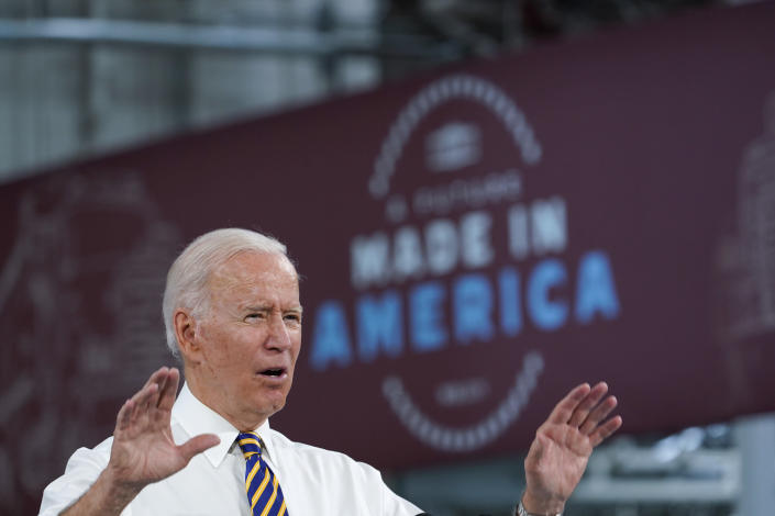 President Joe Biden speaks during a visit to the Lehigh Valley operations facility for Mack Trucks in Macungie, Pa., Wednesday, July 28, 2021. (AP Photo/Susan Walsh)