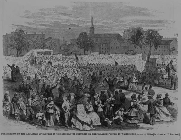 A sketch of the fourth anniversary of the D.C. Emancipation Act by F. Dielman, Harper's Weekly, May 12, 1866. (Library of Congress)