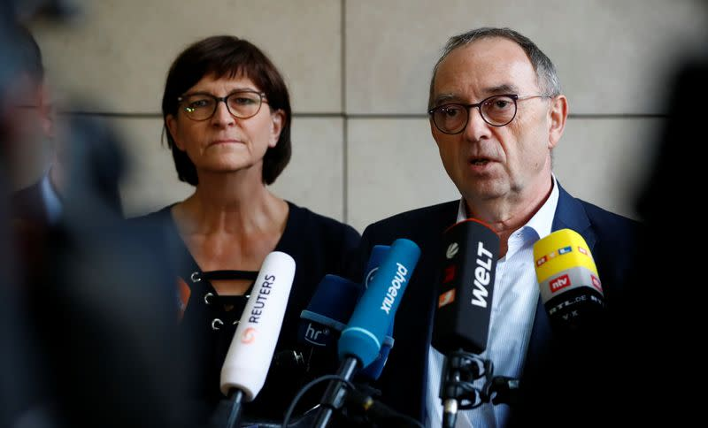 Saskia Esken and Norbert Walter-Borjans of Social Democratic Party (SPD) give a statement to the media in Berlin