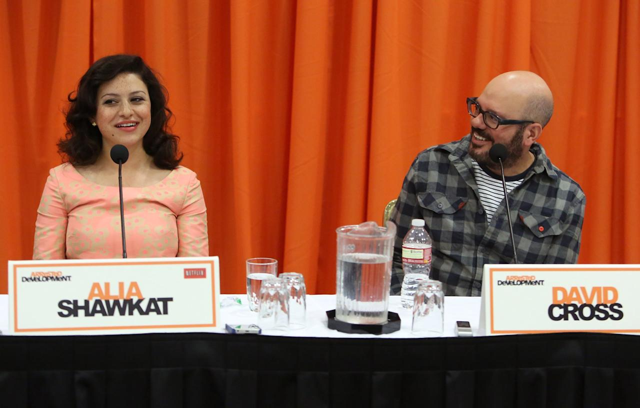 "UNIVERSAL CITY, CA - MAY 04: Actors Alia Shawkat and David Cross attend The Netflix Original Series ""Arrested Development"" Press Conference at Sheraton Universal on May 4, 2013 in Universal City, California.  (Photo by Jesse Grant/Getty Images for Netflix)"