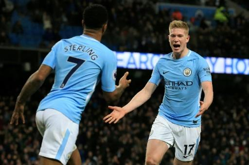 Manchester City's Champions League ban could affect the futures of star players such as Kevin De Bruyne (right) and Raheem Sterling (left)