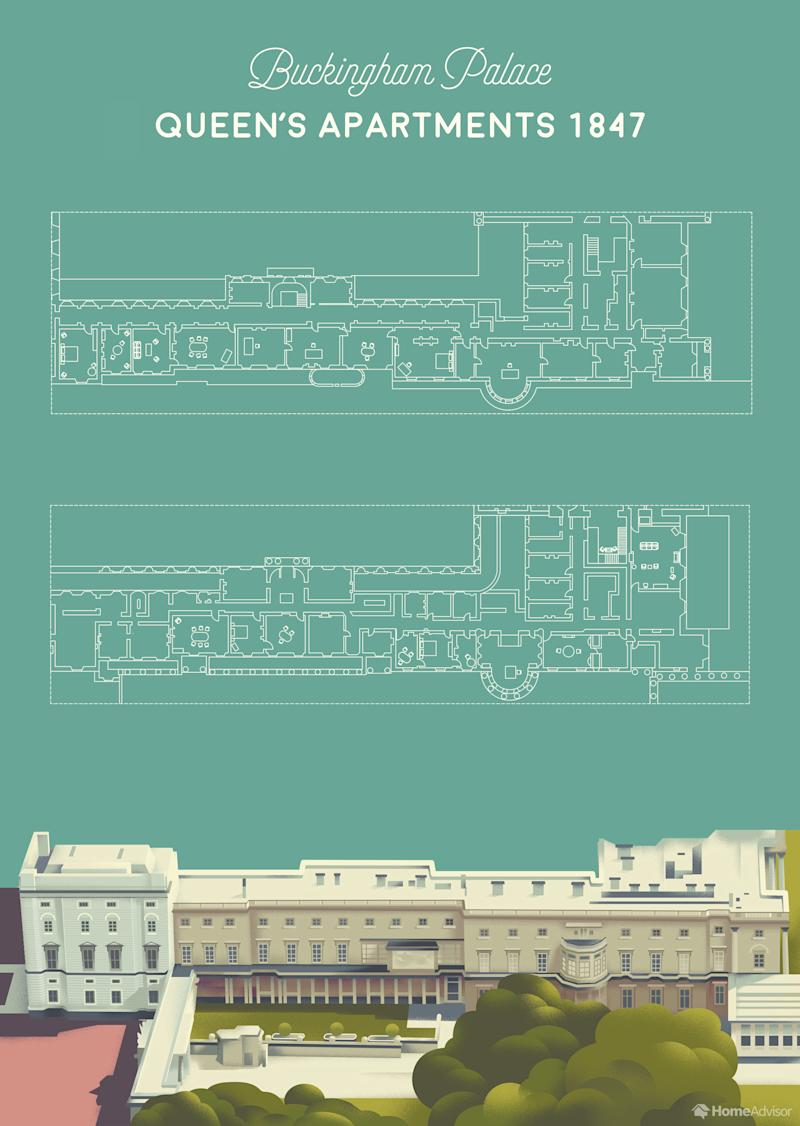 HomeAdvisor has mapped Buckingham Palace to show what it looks like inside.