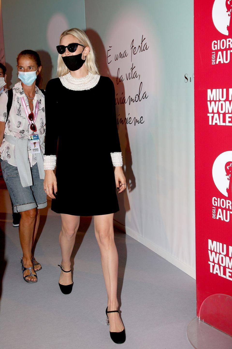 <p>Vanessa wore a black mini dress with cream lace and kitten heels to the Miu Miu Women's Tales event.</p>