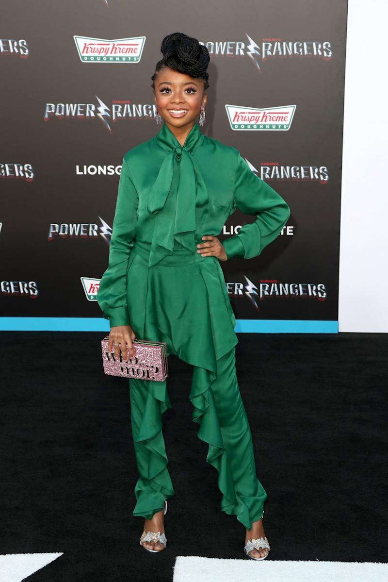 The young actress wowed in a sensational ruffled green jumpsuit.<br /><i>[Photo: Getty]</i>