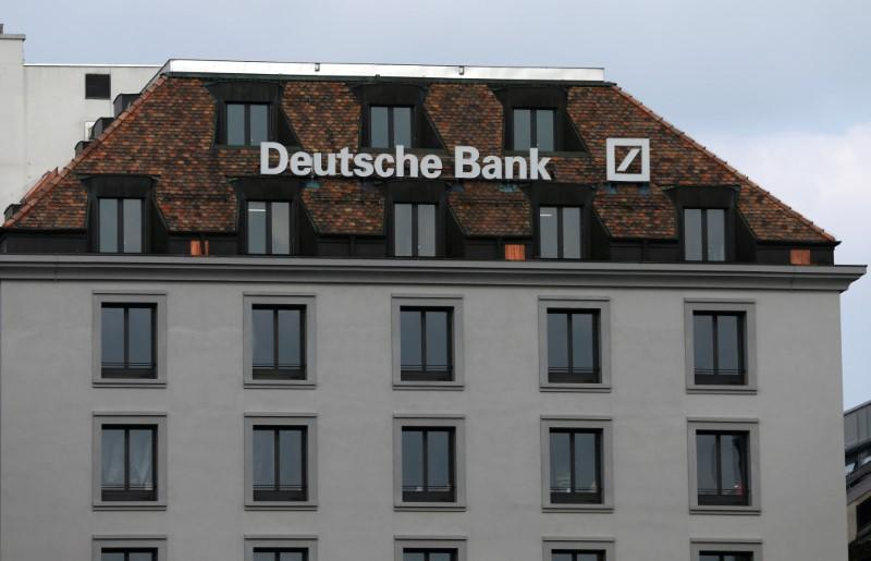 A logo is pictured on the Deutsche Bank building in Geneva