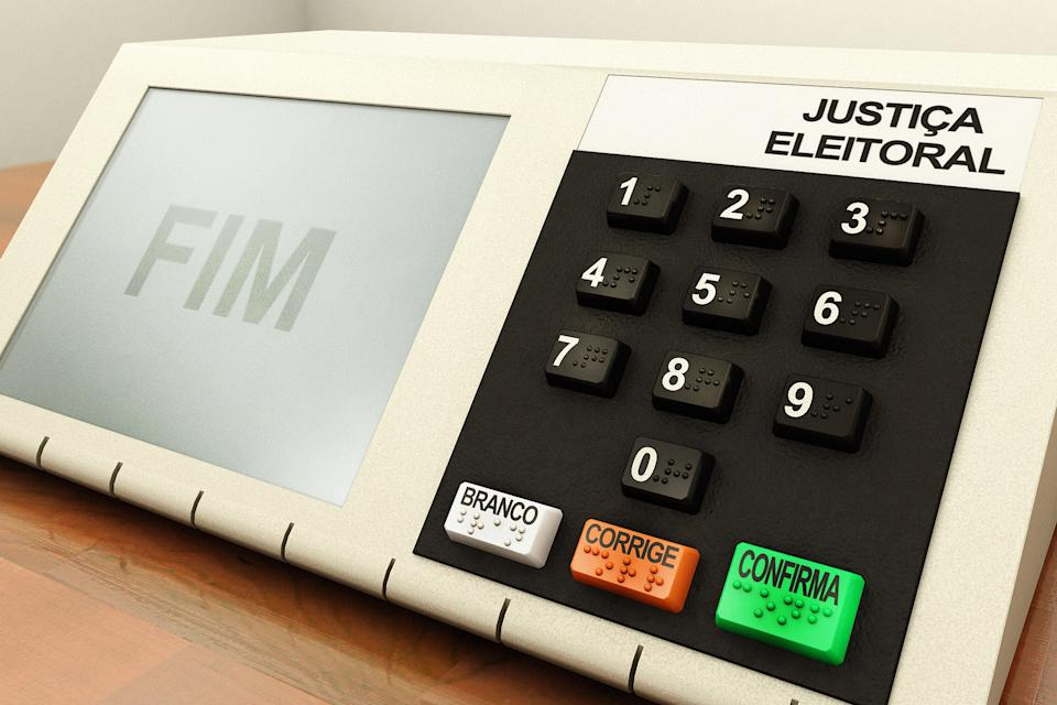 Render of a voting machine for president elections in Brazil, FIM written on display is shown after casting the votes.