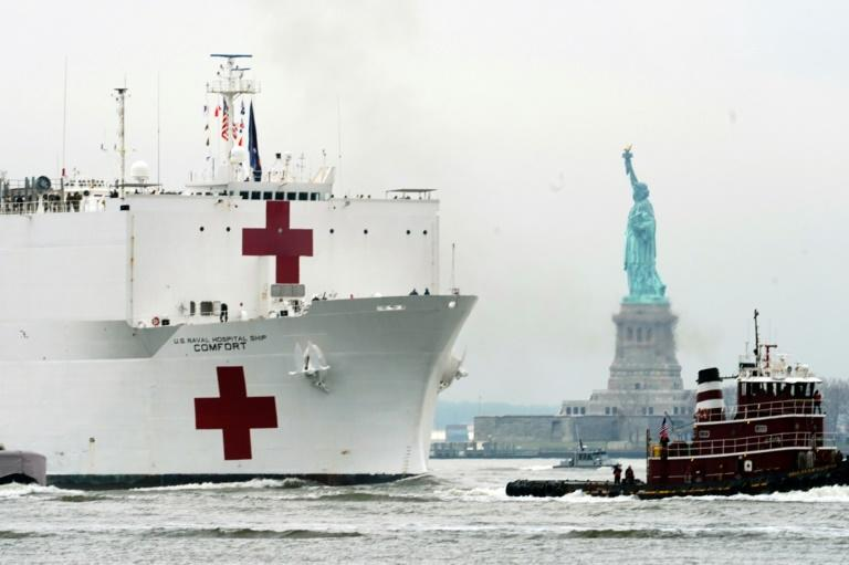 Navy Hospital Ship Arrives in NYC to Back Up Health Systems
