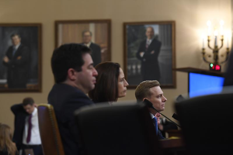 National Security Council official Fiona Hill and State department official David Holmes testify before the Permanent Select Committee on Intelligence on Nov. 21, 2019 in a public hearing in the impeachment inquiry into allegations President Donald Trump pressured Ukraine to investigate his political rivals.