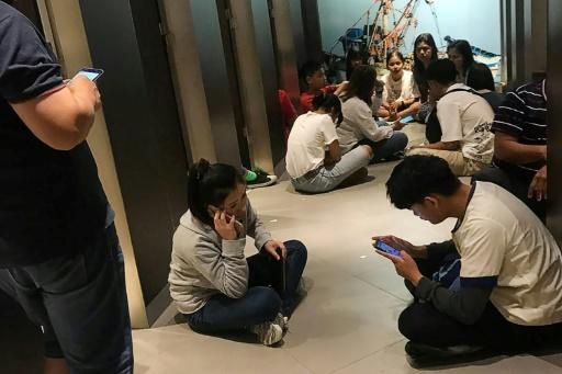 Chanathip Somsakul took this photo showing those trapped inside the mall