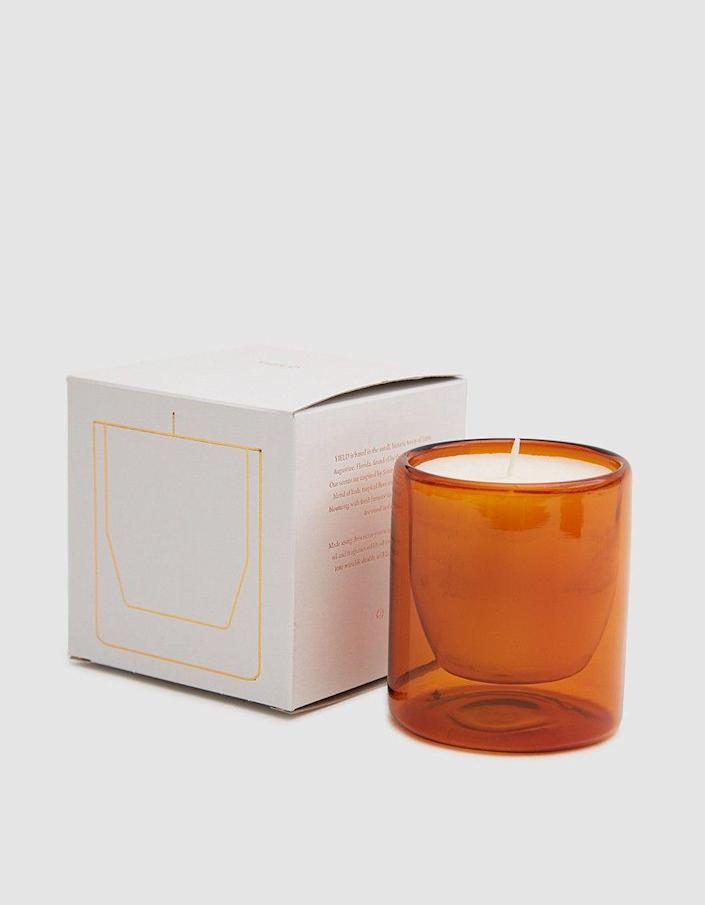 """<p>A candle with earthy notes of cypress, salt, and smoke hand-poured into a reusable, double-wall glass votive is chic gifting goals.</p><br><br><strong>Yield Design Co.</strong> Castillo Soy Candle - 6 oz., $38, available at <a href=""""https://needsupply.com/castillo-soy-candle-6-oz.html"""" rel=""""nofollow noopener"""" target=""""_blank"""" data-ylk=""""slk:Need Supply Co"""" class=""""link rapid-noclick-resp"""">Need Supply Co</a>"""