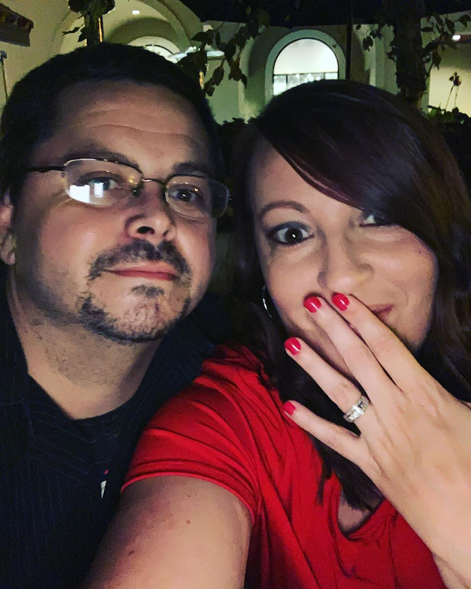 Kendra Blair and Sean Rice after getting engaged. (PA Real Life/Collect)