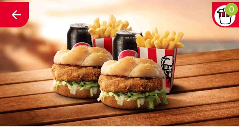 KFC's Double Combo Meal, shown in the app.