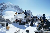 <p>The filming of a mountaintop scene for 'The World Is Not Enough' on location in France, 1999. </p>